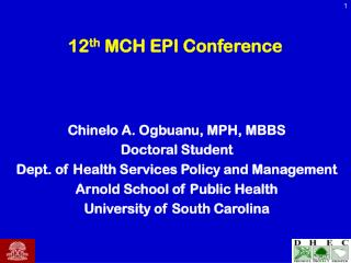 12 th  MCH EPI Conference