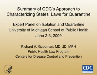 Summary of CDC's Approach to Characterizing States' Laws for Quarantine