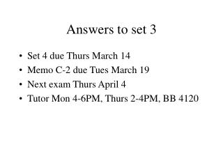 Answers to set 3
