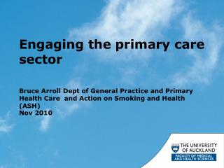 Engaging the primary care sector