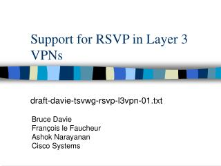 Support for RSVP in Layer 3 VPNs