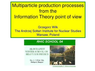 Multiparticle production processes from the Information Theory point of view Grzegorz Wilk