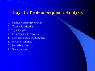 Day 1b: Protein Sequence Analysis