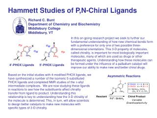Hammett Studies of P,N-Chiral Ligands