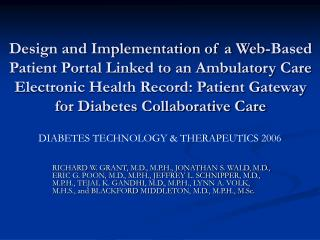 DIABETES TECHNOLOGY & THERAPEUTICS 2006