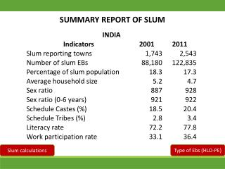 SUMMARY REPORT OF SLUM
