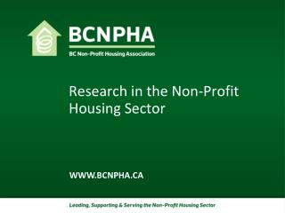 Research in the Non-Profit Housing Sector