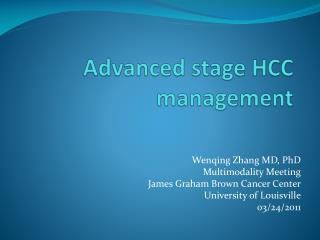 Advanced stage HCC management