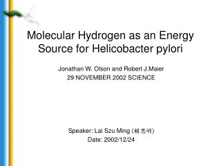 Molecular Hydrogen as an Energy Source for Helicobacter pylori