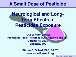 Neurological and Long-Term Effects of Pesticides Exposure