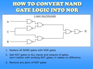 HOW TO CONVERT NAND GATE LOGIC INTO NOR