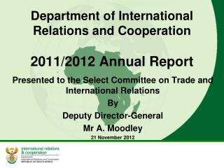 Department of International Relations and Cooperation 2011/2012 Annual Report