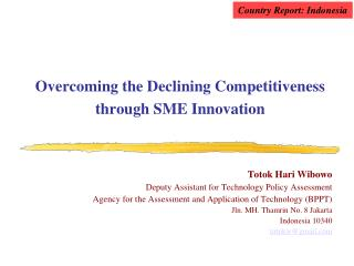 Overcoming the Declining Competitiveness through SME Innovation