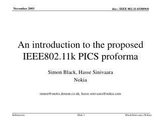 An introduction to the proposed IEEE802.11k PICS proforma