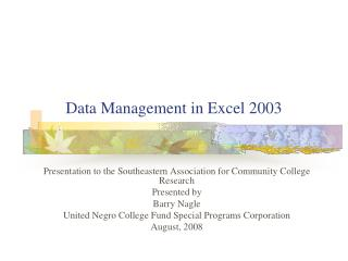 Data Management in Excel 2003