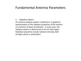 Fundamental Antenna Parameters