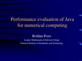 Performance evaluation of Java for numerical computing