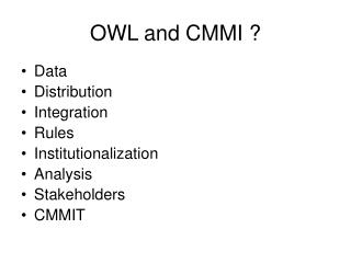 OWL and CMMI ?