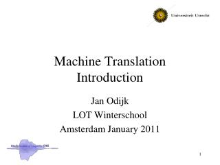 Machine Translation Introduction