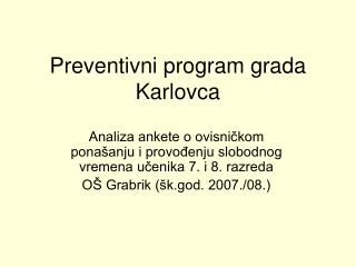 Preventivni program grada Karlovca