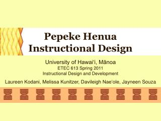 Pepeke Henua Instructional Design