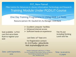 One Day Training Programme In Using Web 2.0 Tools
