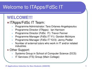 Welcome to ITApps/FdSc IT