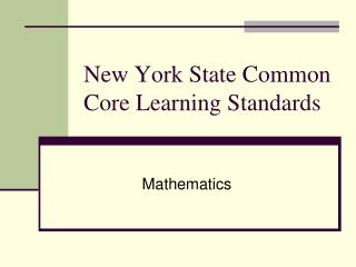 New York State Common Core Learning Standards