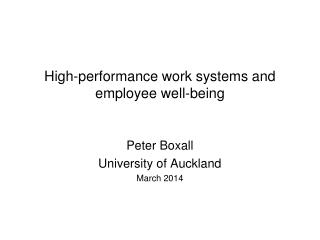 High-performance work systems and employee well-being