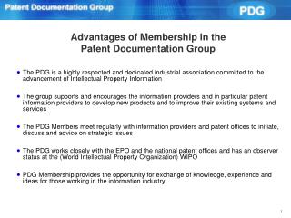 Advantages of Membership in the Patent Documentation Group