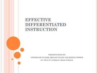 EFFECTIVE DIFFERENTIATED INSTRUCTION
