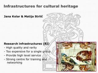 Infrastructures for cultural heritage
