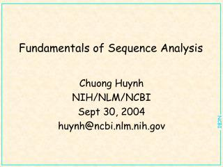 Fundamentals of Sequence Analysis