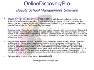 OnlineDiscoveryPro Beauty School Management Software