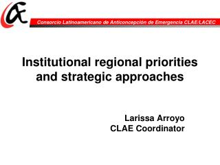 Institutional regional priorities and strategic approaches