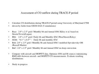 Assessment of CO outflow during TRACE-P period