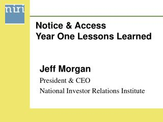 Notice  Access Year One Lessons Learned