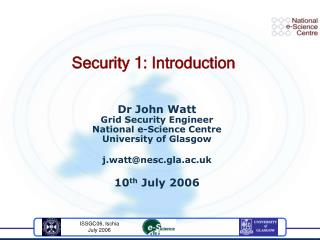 Security 1: Introduction