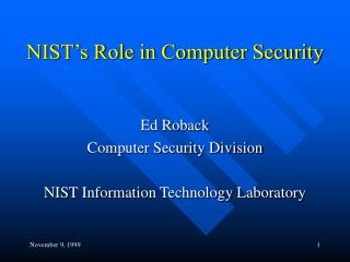 NIST's Role in Computer Security