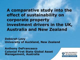 Deborah Levy University of Auckland, New Zealand Anthony DeFrancesco