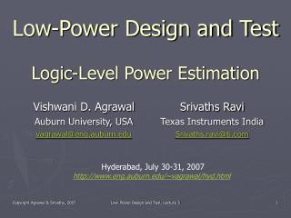 Low-Power Design and Test Logic-Level Power Estimation