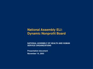 National Assembly ELI:  Dynamic Nonprofit Board