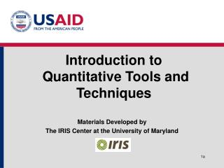 Introduction to  Quantitative Tools and Techniques