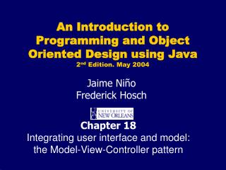 Chapter 18 Integrating user interface and model: the Model-View-Controller pattern