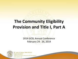 The Community Eligibility Provision and Title I, Part A