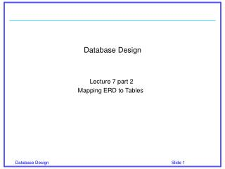 Database Design Lecture 7 part 2 Mapping ERD to Tables