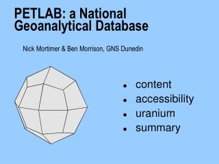 PETLAB: a National Geoanalytical Database