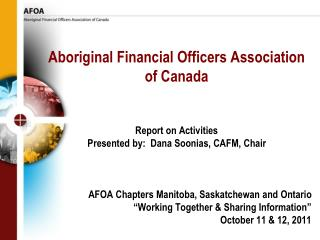 Aboriginal Financial Officers Association of Canada Report on Activities