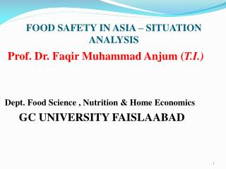 FOOD SAFETY IN ASIA – SITUATION    ANALYSIS