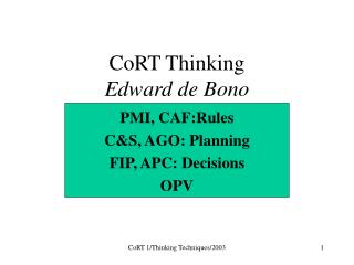 CoRT Thinking Edward de Bono